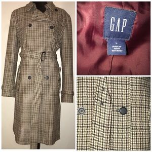 GAP Women's Size Tan Multi Houndstooth Trench Coat